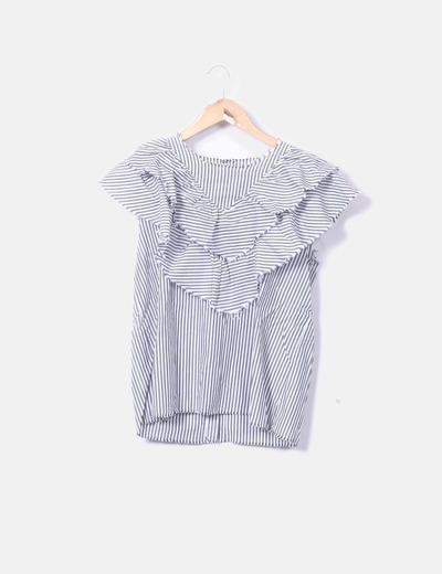 Blusa de rayas volantes desflecados
