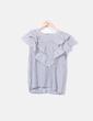 Blusa de rayas volantes desflecados Zara