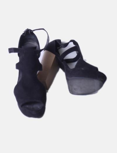 Sandalias ante negro tacon madera