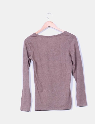 Camiseta camel jaspeada manga larga