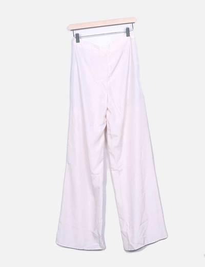 Pantalon fluido rosa palo con encaje