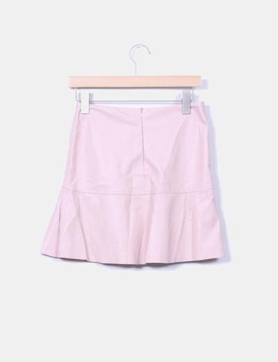 b6c1aa6151 Zara Falda rosa palo de polipiel (descuento 65%) - Micolet