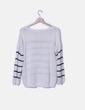 Jersey tricot crudo rayas negras Suiteblanco