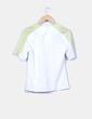 Camiseta fluida blanca mangas pistacho Misebla