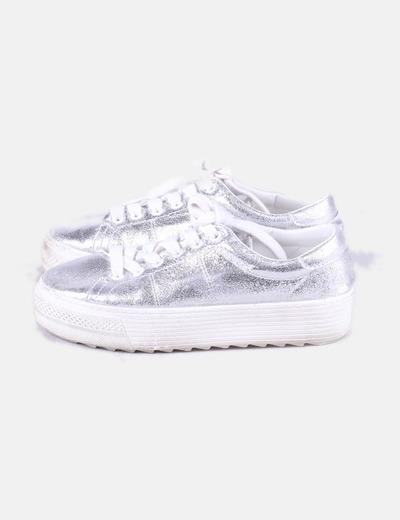 Chaussures argentées de sport Pull&Bear