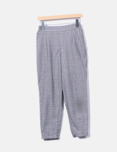 Pantalón baggy cuadros galés gris