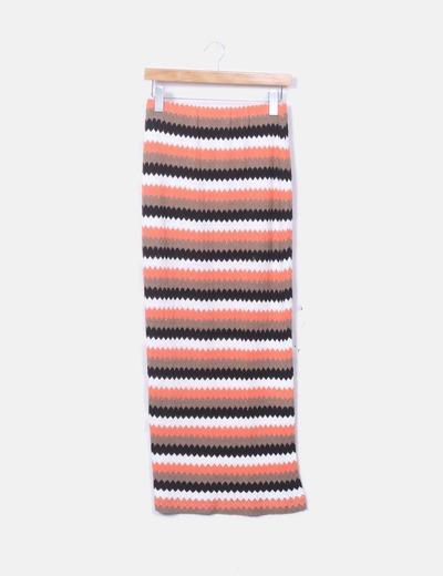 Falda tricot combinada multicolor