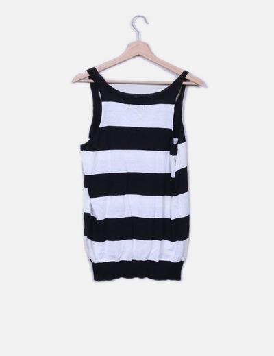 Camiseta tricot blanco y negro
