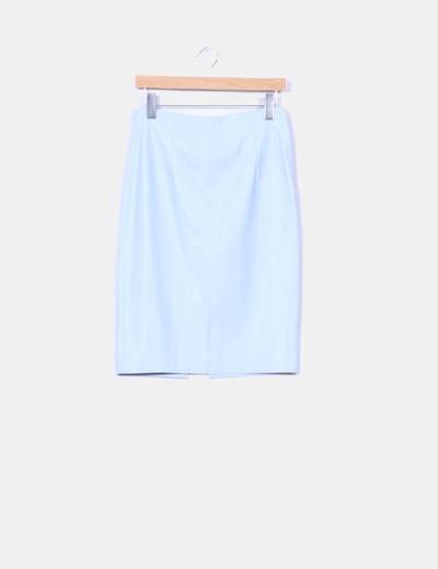 Falda lápiz polipiel azul celeste Zara