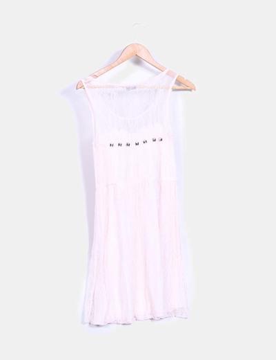 Con Encaje Vestido Micolet Tachas descuento Zara 96 De Palo Rosa waxnICvq