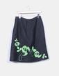 Falda midi negra texturizada bordados verdes MJ de Atian