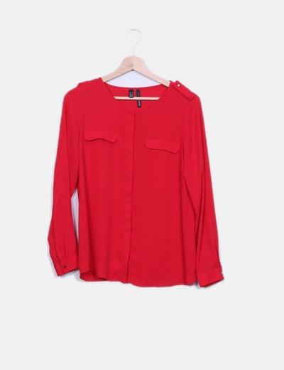 Blusa roja detalle bolsillos Mango