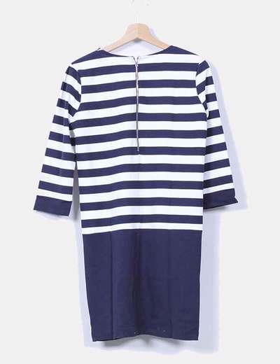 Vestido azul marino y blanco con rayas