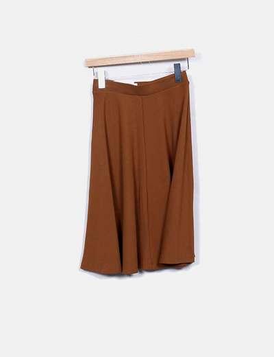 precio de fábrica ba1cd 5cfa0 Falda midi fluida camel