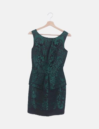 Vestido peplum negro estampado verde