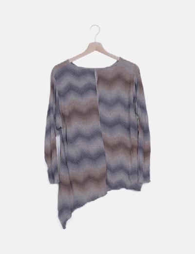 Camiseta tricot marrón combinada asimétrica