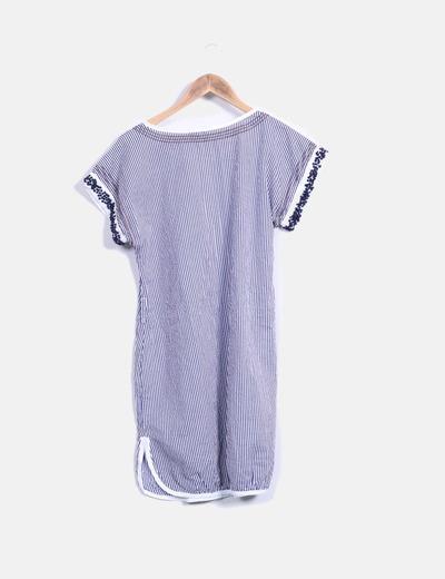 Vestido rayas azul y blanco con bordados