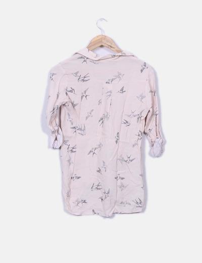 Camisa rosa pastel print pajaros