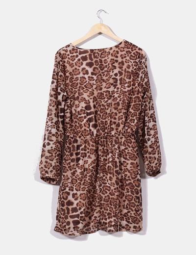 Vestido de gasa print leopardo