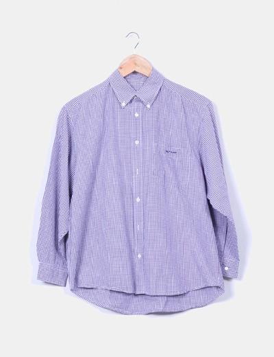 Camisa de cuadros  morados y blancos Naf Naf
