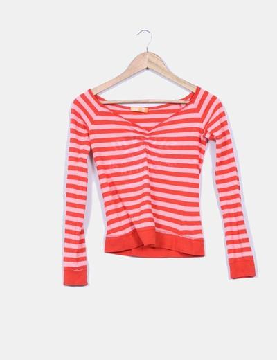 Camiseta rayada bicolor Bershka