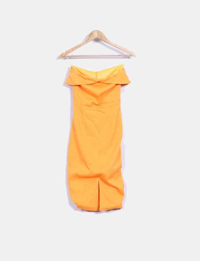 Vestido naranja ajustado sin mangas Lavish Alice