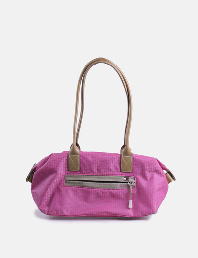 Bolso rosa estampado con asas beige Tommy Hilfiger