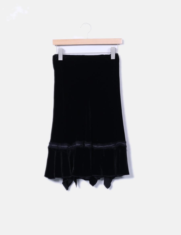 740c25320 detalles Jorando Faldas terciopelo de online baratas Falda negra FwHUSqn ...