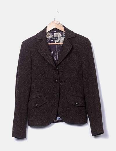 Blazer marron en tweed Massimo Dutti