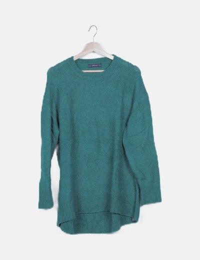 Jersey tricot verde jaspeado