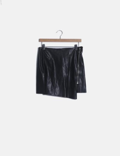 Mini falda polipiel negro con cremallera