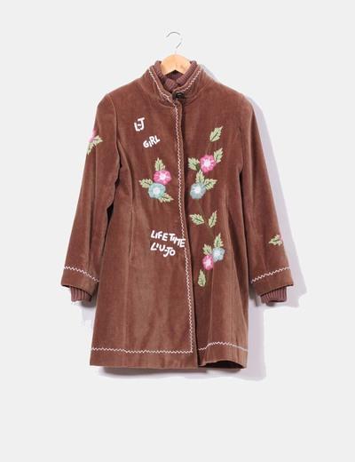 Abrigo de terciopelo bordados florales Liu·Jo