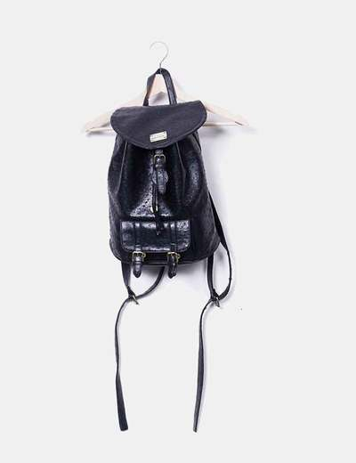 Textured black backpack Misako