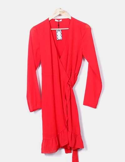 Vestido cruzado gasa rojo