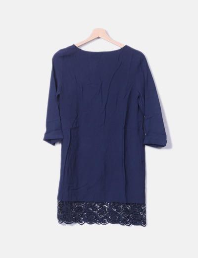 Vestido Azul Marino Con Encaje