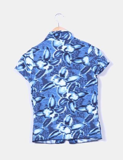 Blusa azul jaspeada manga corta