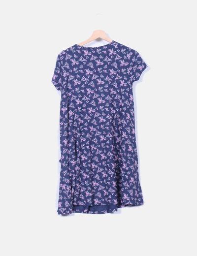 Vestido azul marino floral con bolsillos