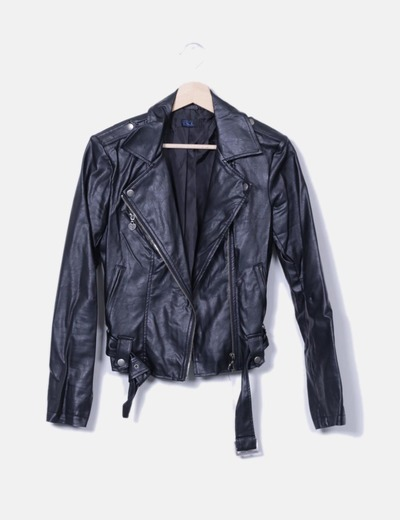 Veste noire en cuir en cuir imitation Twin-Set