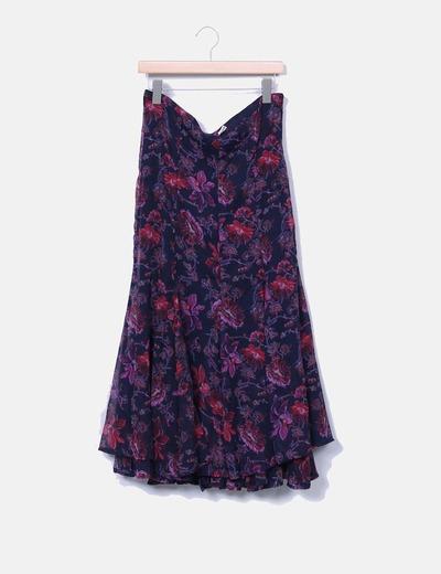 Saia floral maxi com folhos H&M