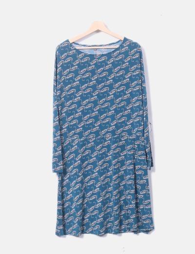 Vestido elástico azul petróleo print cisnes