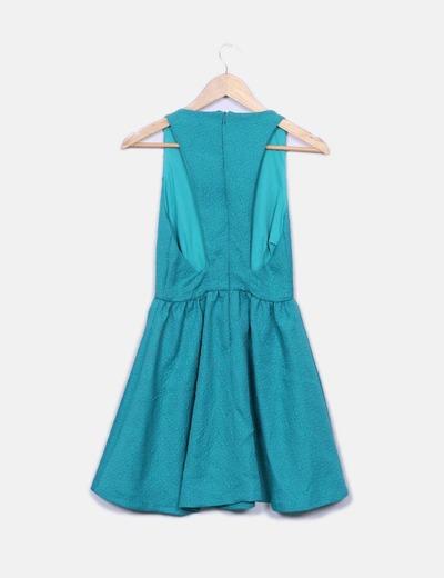 Vestido turquesa combinado