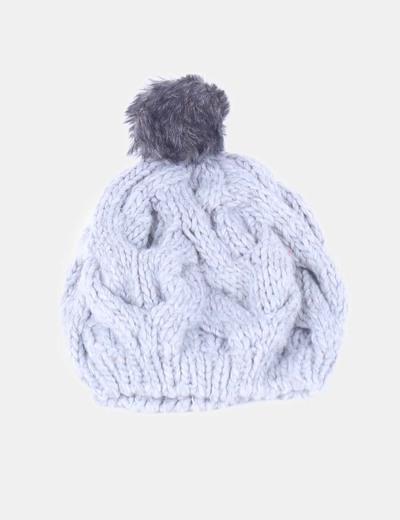 gorro de lana gris con pompn springfield
