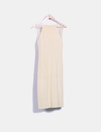 Vestido beige de punto mangas de red