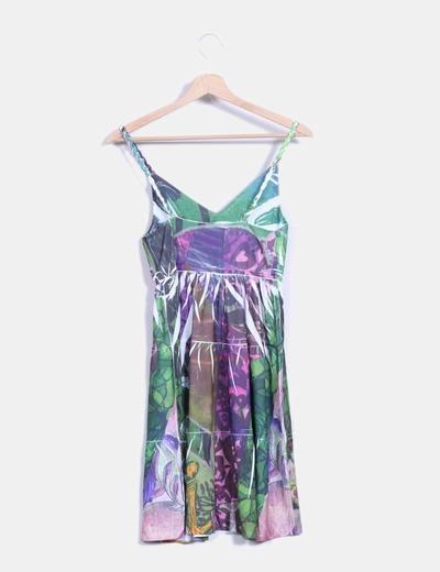 Vestido de gasa multicolor