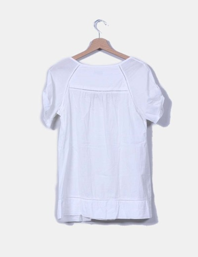 Top blanco cuello redonda
