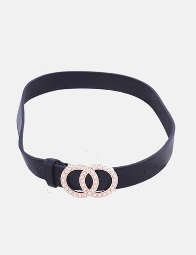 Cinturón negro hebilla con perlas