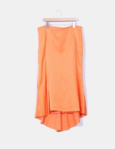 Conjunto naranja con falda y corpiño Ivan Moda