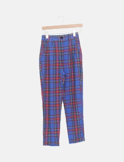 Pantalón baggy tartán azul
