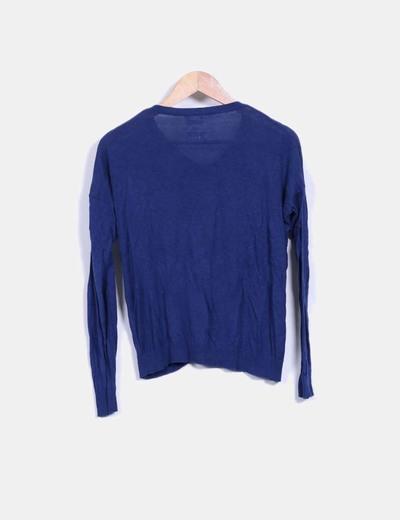 Cardigan tricot azul marino
