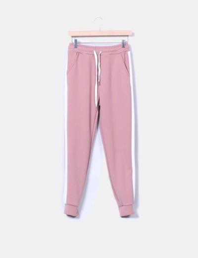 Pantalón jogging rosa empolvado con raya lateral